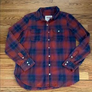 Mossimo Red and Blue Button Down Flannel Shirt
